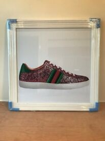 GUCCI TRAINER, WHITE LYON FRAME 96cm X 76cm. (NEW)