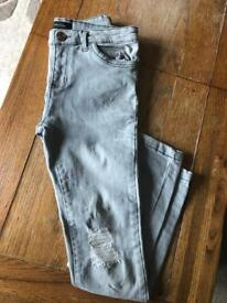 Girls Ripped River Island Skinny Jeans, Age 11 Years