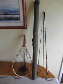 Trout fly rod,Delta Classic 5/6 9ft. Trout scoop landing net, both used once only.