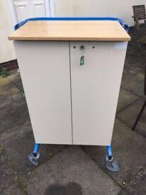 Lockable Medicine Trolley Cabinet
