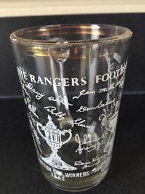 Vintage Rangers FC 1962 Scottish League Cup Winners Collectors Glass