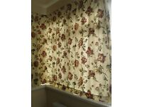 High Quality Floral Pair Of Curtains With Matching Tie Backs & Curtain Rail