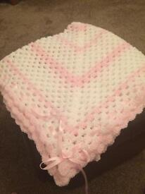 Handmade baby's pink blanket /shawl new