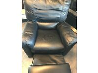 Black recliner chair in good condition, very comfortable and not too heavy to move around.