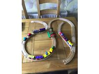 Bundle of Wooden Train Track including Brio, Trains and Carriages, Cars