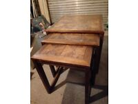Coffee table cluster, 3 solid wood stacking tables