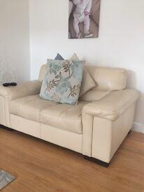 2 x 2 seater sofas cream leather