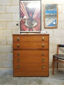 Mid Century Retro Chest of 5 Drawers by Stag
