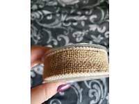 Hessian and pearl wired ribbon