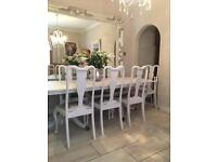 Yew 8 seater table and 8 chairs