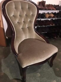 Antique / Vintage Olive Green Velvet Chair- QUICK SELL