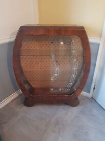 Wooden glass cabinet available for collection only