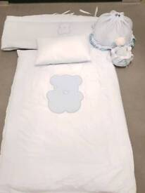 Boys Blue Italian Cot/Cot Bed Set(does not include cot). Includes Bumper, Quilt and Light