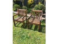 Bench Style Heavy Garden Chairs £40 a pair