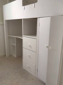 Cabin bed with wardrobe, desk and ladders