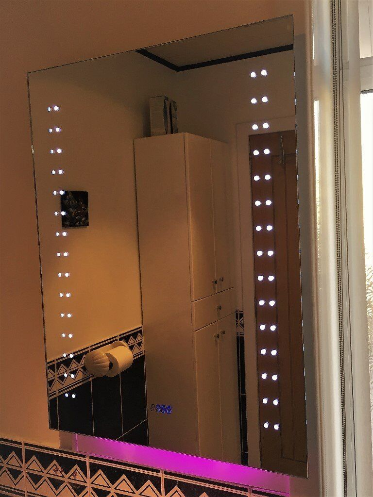 Bathroom Mirror with RGB lighting, Clock, Shaver Socket ...
