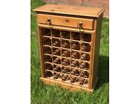 Pine 30 bottle wine rack holder with drawer