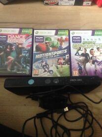 Xbox 360 Kinect sensor and 3 games