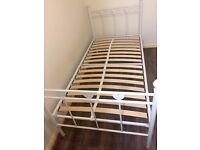 White Metal Frame Bed