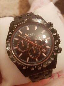 Mens black Rotary watch as new with box and garentee