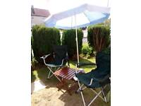Garden folding chairs 2 of with parasol and stand also small folding table