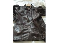 Soft leather long jacket