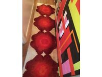 RUG vintage retro FLOWER RYA? 60s 70s mid century runner carpet long desso FLOORING lounge WARM wool
