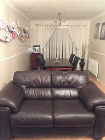 Leather 3 seater and 2 seater sofas in good condition. Dark brown. Collection only