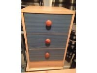 Children's chest of drawers and 2 bed side tables £15