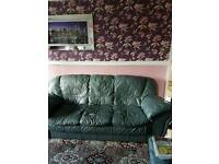 3 piece blue leather sofa and puffy