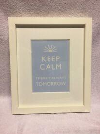 Keep Calm Blue and Cream Print