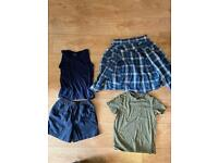 9 items, boys age 7-8 years clothes including vest, shirt, tops, shorts, pyjamas etc.
