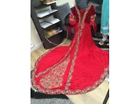 Asian Bridal dress In a elegant stunning red Satin