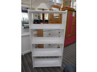 £45: Kids white bookcase - brand new- solid pine. Ex-display. Use free standing, or hang from bunk