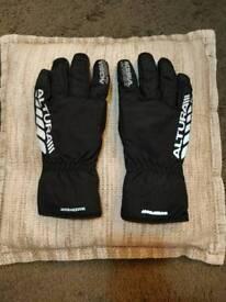 Mens Altura Night Vision waterproof cycling gloves black Large.