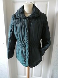 Ladies Dark Green Padded Zip-Up Jacket Size 12