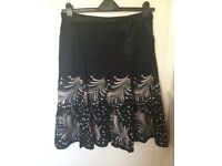 Monsoon Skirt Black with Embroidery Size 12