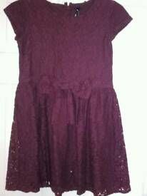 Girls Next burgandy lace dress