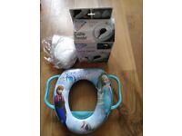 Frozen toddler toilet seat and cushie traveler folding toilet seat