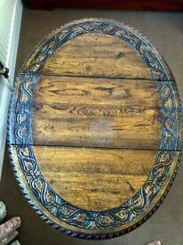 Vintage Hand Carved Folding Drop Leaf Table with turned legs.