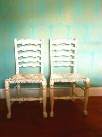 Shabby Chic Ladder Back Rush Seat Chairs x2