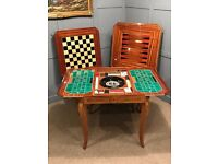 Italian Games Table Inlaid Notturno Intarsio Sorrento Casino Roulette Cards Dominoes Chess Table