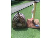 cat igloo bed and scratching post both new .rspca recommended