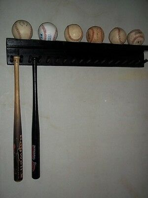 - BASEBALL BAT RACK DISPLAY HOLDER 17 MINI COLLECTIBLE BATS 6 BALLS BLACK