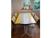 Rare Original Vintage 1950s Yellow & White Atomic Formica Table & 4 Chairs