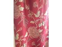 Nearly new Red/Gold floral Marks &Spencer made to measure lined curtains