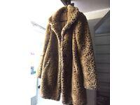 Faux fur leopard print m & s coat size 10 £20