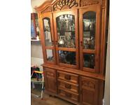Solid beechwood glass cabinet and table set