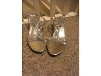 Silver kitten heeled diamante sandals size 7
