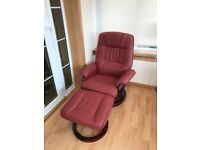 Swivel massage chair with heat and foot stool